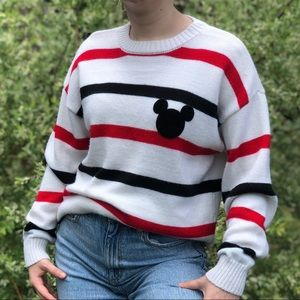Disney Red and Black Striped Knitted Sweater